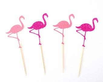 Flamingo Cupcake Toppers - Tropical Party Decor, Hawaiian Party, Luau Party Decor, Flamingo Party Decor, Let's Flamingle