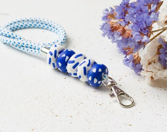 White Blue Lanuard, Colorful lanyard, Lanyard with id holder, Teacher lanyard, Necklace lanyard, ID Badge holder, Key lanyard, ID holder