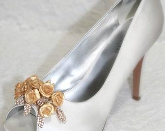 wedding shoe clip, bridal shoe clips, shoe clips, flower shoe clips, gold shoe clips, flower shoe clips