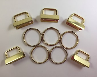 "Gold - Key Fob Hardware - 1 1/4"" - Set of 5 - Key Ring - Make Your Own Key Fobs - Gold Plated - Trendy Gift Giving"