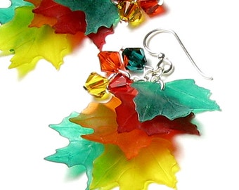 Colorful Fall Leaf Earrings, Red, Orange, Yellow, Green, Autumn Leaves, Swarovski Crystal, Sterling Silver Earrings, Fall Jewelry, Fall Gift