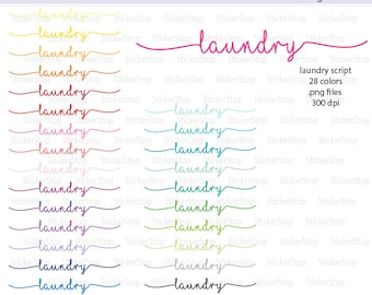 Laundry Script Icon Digital Clipart in Rainbow Colors - Instant download PNG files