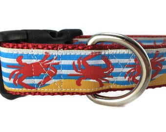 Dog Collar, Crabs,1 inch wide, adjustable, quick release, metal buckle, chain, martingale, hybrid, nylon