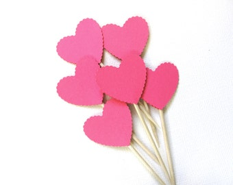 Valentine Party Decor, 24 Scalloped Heart Cupcake Toppers, Food Picks, Weddings, Showers, Love, Fuchsia Pink, Double-Sided