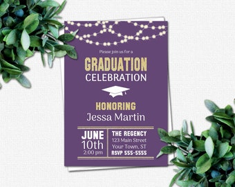 Amethyst High School or College Graduation Party Invitations - PRINTABLE Graduation Invitation | Rustic Lights country gold glitter purple