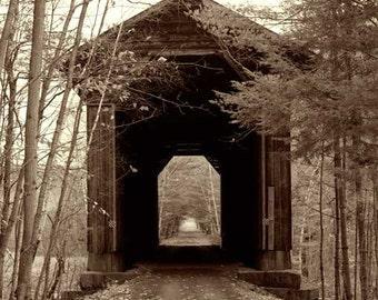 Wright's Bridge, former Boston & Maine Railroad Bridge, Claremont vicinity, Sullivan County, NH, Covered Bridge, Sepia Duotone Print