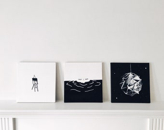 Custom Hand-painted Black and White Acrylic Painting