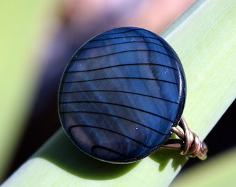 Wire Wrapped Ring, Patina Copper Ring, Shell, Customize, Jewelry, 20 mm