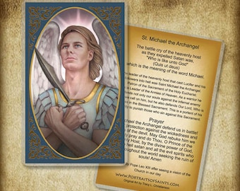 St. Michael the Archangel Holy Card or Wood Magnet  #0143