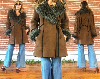Vintage 1970's Vegan Faux Shearling Fur WRAP Coat With Large Shawl Collar  ||  Chocolate Brown Boho Hippie Faux Suede Coat || Size Medium