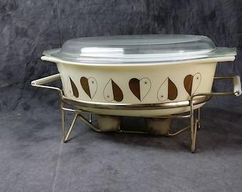 Vintage Pyrex Gold Heart Casserole, Lid and Serving Cradle, 1959, 2-1/2 Quart, Cinderella Casserole