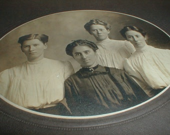 Antique Mounted Photo *Four Young Ladies* Unusual Group *Victorian Image*