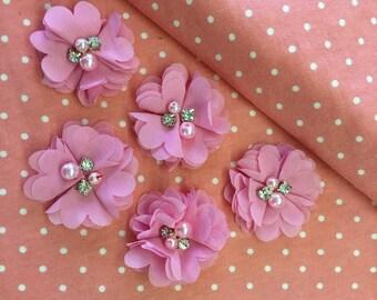 "2.5"" Bubblegum Pink Chiffon Flower with Pearl and Rhinestone Center set of 5"