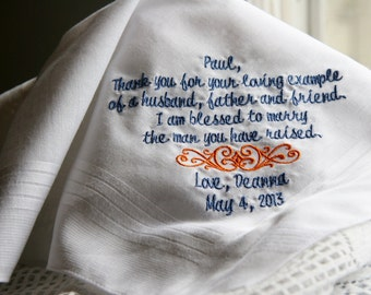 Thank you for Your Loving Example Gift to Grooms Father From Bride- Embroidered Wedding Handkerchief