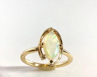 Yellow gold opal diamond ring,opal ring,diamond  opal band