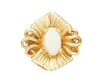 """Estate 14k Yellow Gold Slide Charm Marquis Shape Genuine Opal Solid 7/16"""" long 1.1g Embossed Victorian Marked 14kt 14 k kt Vintage Bracelet"""