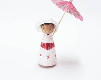 Mary Poppins - Peggies by Steph - Handpainted Wooden Pegdoll (CLEARANCE)