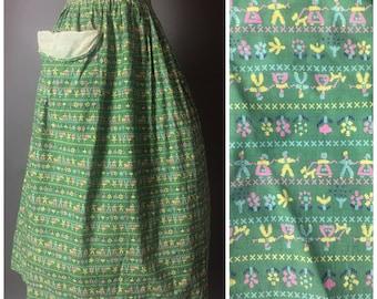 Vintage 50s skirt / 1950s skirt / novelty print skirt / full skirt / day skirt / cotton skirt / 5010