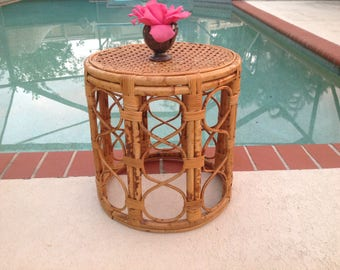 RATTAN CANE DRUM Vintage Rattan Cane Drum Table / Bamboo Side Table / Fretwork Side Table Drum / Almost 16 Inches tall at Retro Daisy Girl