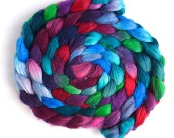 Dark Jewels, Superwash Merino/ Nylon Roving - Handpainted Spinning or Felting Fiber