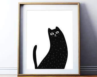 Cat print  - Digital print -Home Decor - Cats - Cat Sketch - Nursery print- Printable Art  - Animal Sketch - Custom Size - Home Decor