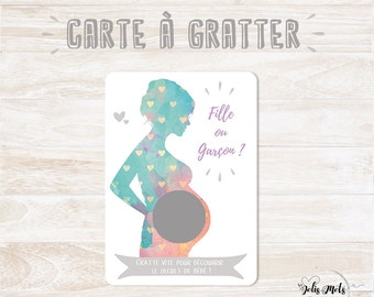 French VERSION - Scratch - the sex of baby - pregnancy announcement/discovery card
