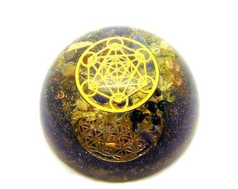 Orgone énergétique demi-sphère Merkaba améthyste