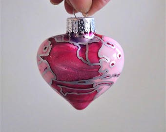 Glass Heart Ornament - Hand Painted Holiday Decoration