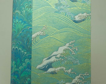 Japanese Wave Book in Blue and Gold