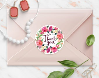 Thank You stickers, Shabby Pink Floral Watercolor Wreath, Round Cut Sticker for Etsy Sellers, Wedding, Party, Matte Lamination Finish,