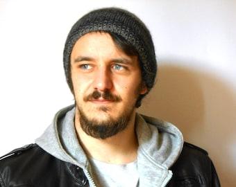 alpaca beret, hipster beanie, slouchy hat, men knit beanie grey melange, handknitted beret grunge style, Mens gift under 40 by cosediisa
