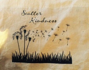 Scatter kindness 100% cotton flour sack tea towel