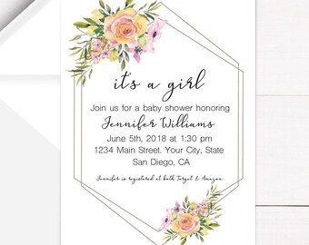 It's a girl modern framed floral invitation | DIY | Custom Invitation