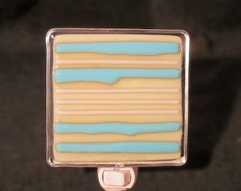 Turquoise Vanilla Stripes Fused Glass Night Light Nightlight Handmade OOAK