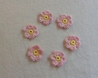 Crochet flowers appliqué in pink and yellow, small crochet flower