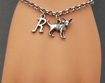 Chihuahua charm bracelet, initial bracelet, antique silver, initial bracelet, friendship, mothers, adjustable, monogram