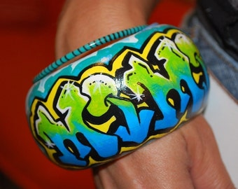 Graffiti Custom Personalized Painted Bangle Urban Fashion Street Wear by beebles