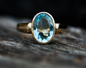 Aquamarine 14k Gold Ring 7 - Stunning Aquamarine Ring 14k Gold - Natural Aquamarine and 14k Gold - Aquamarine Ring - Beautiful Blue Aqua