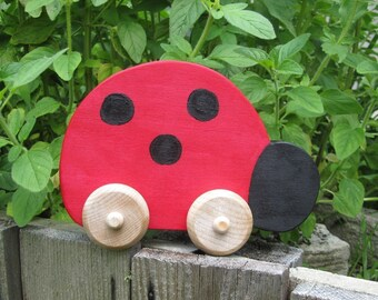 Wooden Toy Waldorf Ladybug Push Toy