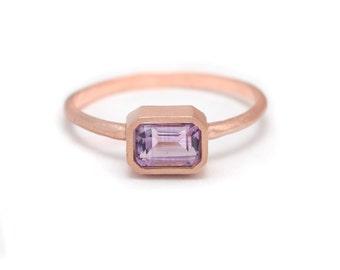 Amethyst Baguette Ring - 18k Rose Gold Vermeil- Bezel Set - Baguette Gemstone - Available in sizes 5, 5.5, 6, 6.5, 7, 7.5, 8, 8.5 and 9