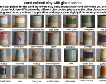 Info: glaze color palette for sand clay urns