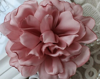 Larger Handmade Singed Flower Fabric Flower  (3.5 inches) In Mauve MY-298-16-01 Ready To Ship