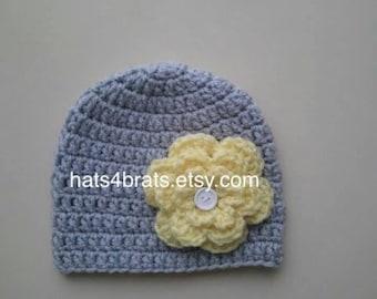 Infant Crochet Hat, Baby Girl Crochet Hat With Yellow Flower, Newborn Hat, Baby Photo Prop Hat, Baby Shower Gift, Crochet Girls Gray Hat