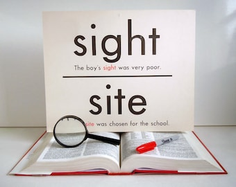 Vintage Giant Word Flashcard Sight Site Eight Ate Double Sided 11x14 Homonym Poster Flash Card