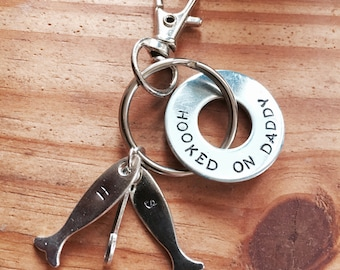 Hooked On Daddy Hand Stamped Fishing Keychain