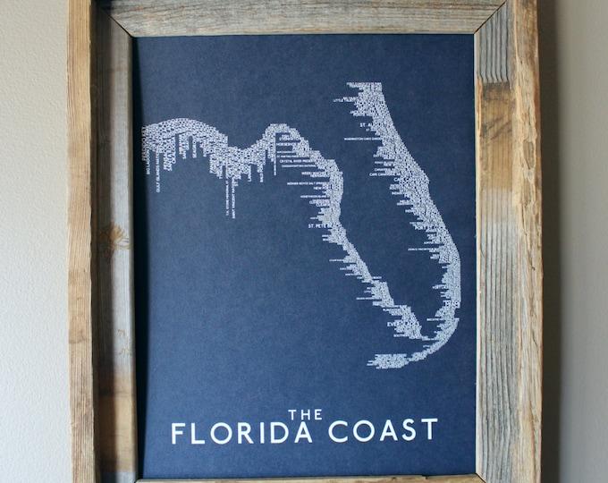 The Florida Coast Word Map (Dark Blue) Unframed