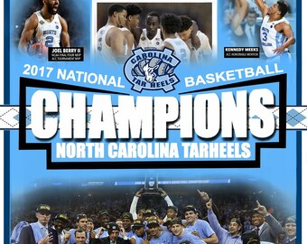 North Carolina Tarheels National Championship Poster, UNC Tarheels FREE SHIPPING