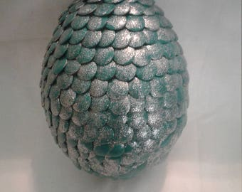 Teal and Silver Dragon Egg