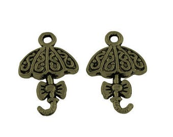Set of 10 bronze charms - 20 x 13 (BR004)