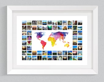 Watercolour World Map & Photo Collage